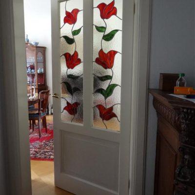 bloemen patroon in glas in lood