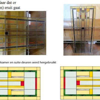 glas van 2 kamer en suite deuren wordt hergebruikt voor 2 nieuwe glas in lood bovenlicht ramen