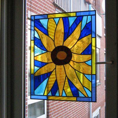 zonnebloem glas in lood