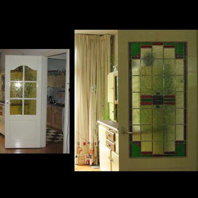 nieuw glas in lood raam geplaatst in vermaakte bestaande deur