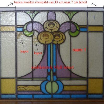 restauratie 1 Jugendstill glas in lood; het raam moet versmald worden om te kunnen plaatsen
