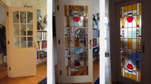 Désirée Dreissen glas in lood nieuw in aangepaste paneeldeur